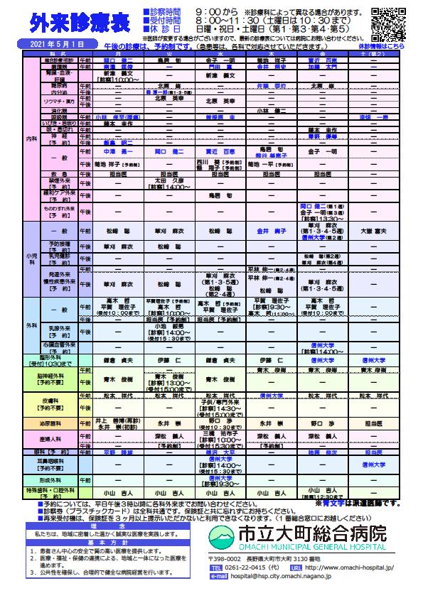 2021年5月1日 外来診察表