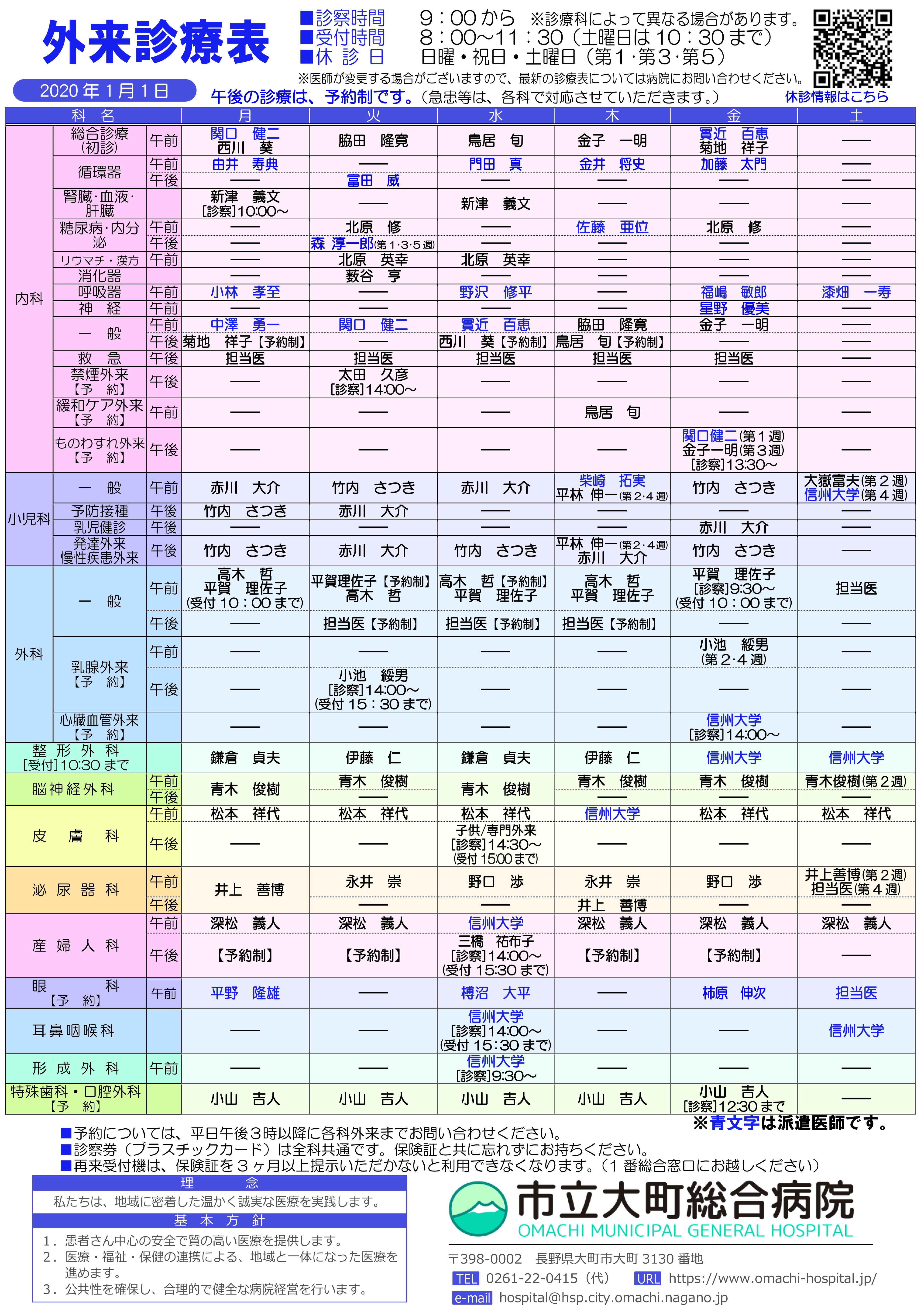 2020年1月1日 外来診察表