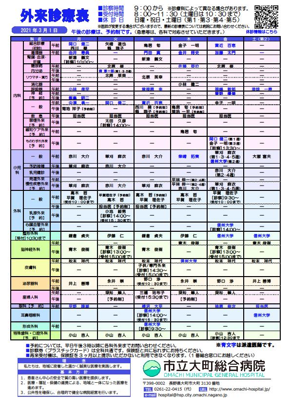 2021年3月1日 外来診察表